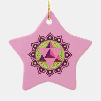 Ornamento De Cerâmica Merkaba na flor da vida