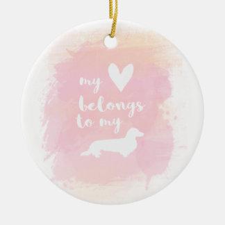 """Ornamento De Cerâmica """"Meu coração pertence caligrafia cor-de-rosa aos"""