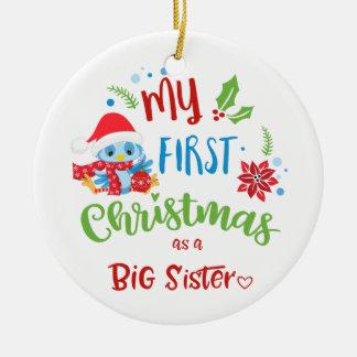 Ornamento De Cerâmica Meu primeiro Natal como uma foto/ano da irmã mais