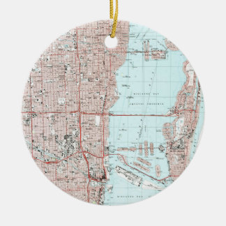 Ornamento De Cerâmica Miami Florida Mapa (1988)