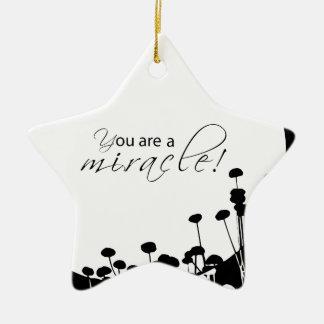 Ornamento De Cerâmica Milagre da recuperação, preto e branco