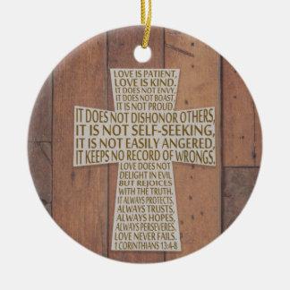 Ornamento De Cerâmica Mim cruz do capítulo do amor dos Corinthians 13
