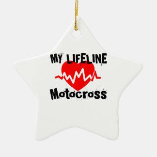 Ornamento De Cerâmica Minha linha de vida motocross ostenta o design
