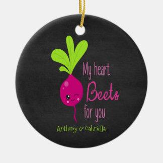 Ornamento De Cerâmica Minhas beterrabas do coração para você Ornament