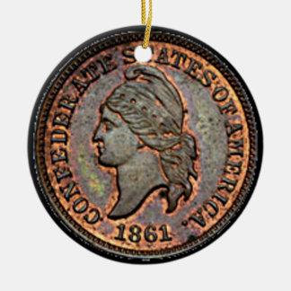Ornamento De Cerâmica Moeda de um centavo confederada de cobre do