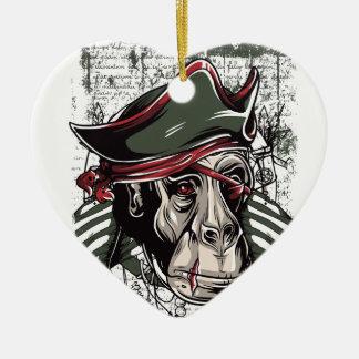 Ornamento De Cerâmica monkey o design bonito do pirata