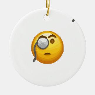 Ornamento De Cerâmica monocle do emoji