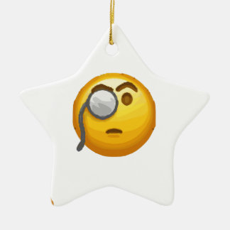 Ornamento De Cerâmica monocle do emoji