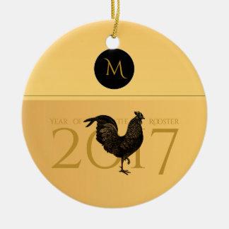 Ornamento De Cerâmica Monograma 2017 elegante do ano do galo do vintage