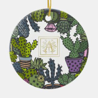 Ornamento De Cerâmica Monograma A do cacto