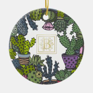 Ornamento De Cerâmica Monograma B do cacto
