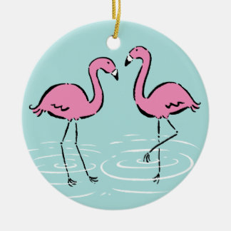 Ornamento De Cerâmica Monograma cor-de-rosa do flamingo