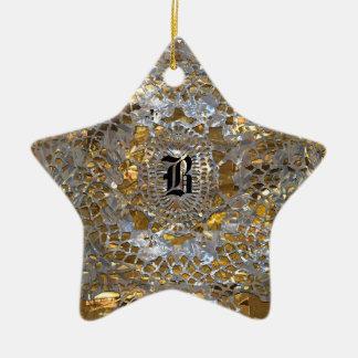 Ornamento De Cerâmica Monograma elegante da estrela da herança