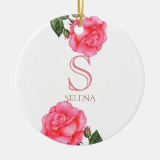 Ornamento De Cerâmica Monograma floral botânico da arte do rosa do rosa