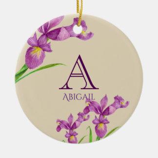 Ornamento De Cerâmica Monograma floral botânico da íris roxa da aguarela