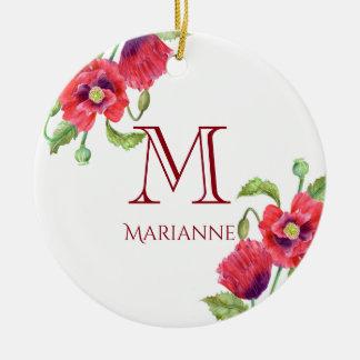 Ornamento De Cerâmica Monograma floral da arte das papoilas vermelhas da