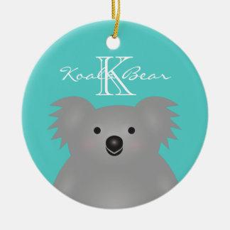 Ornamento De Cerâmica Monograma peluches bonito do urso de Koala do bebê