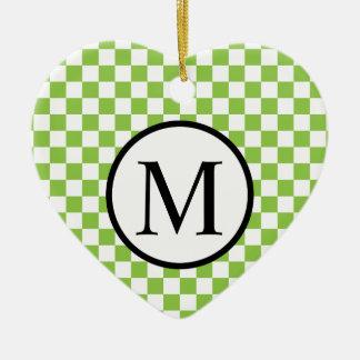 Ornamento De Cerâmica Monograma simples com o tabuleiro de damas do