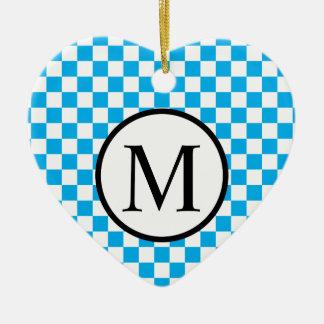 Ornamento De Cerâmica Monograma simples com tabuleiro de damas azul