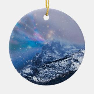 Ornamento De Cerâmica Montanhas da Noite de Natal