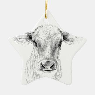 Ornamento De Cerâmica MOO uma vaca nova do jérsei