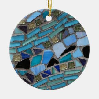 Ornamento De Cerâmica Mosaico azul do vidro do mar