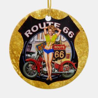 Ornamento De Cerâmica Motocicleta da rota 66 de América com uma textura