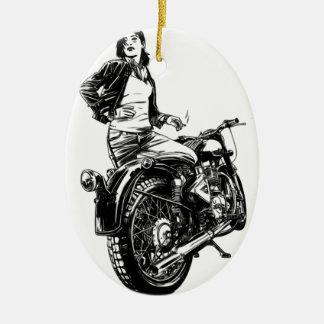 Ornamento De Cerâmica Motociclista