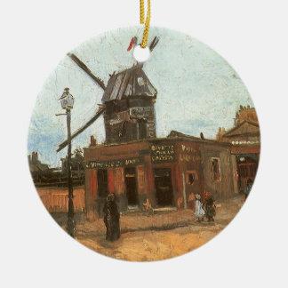 Ornamento De Cerâmica Moulin de la Galette por Vincent van Gogh, moinho