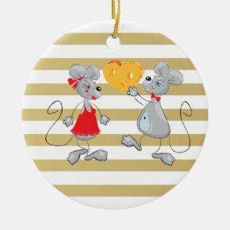 Ornamento De Cerâmica Mouses-Listras lunáticas subtis bonitos