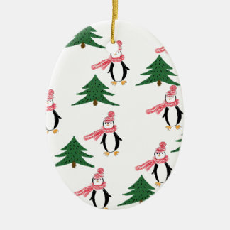 Ornamento De Cerâmica Muffin do pinguim do Natal