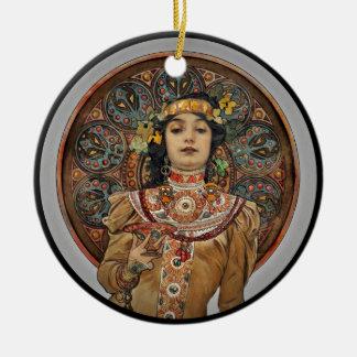 Ornamento De Cerâmica Mulher com vidro de Champagne