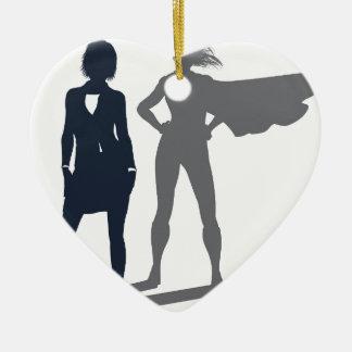 Ornamento De Cerâmica Mulher de negócios da sombra do super-herói