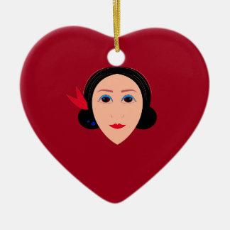Ornamento De Cerâmica Mulher do bem-estar de Ásia no vermelho
