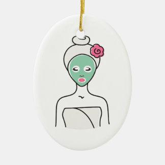 Ornamento De Cerâmica Mulher do Facial dos termas