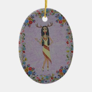 Ornamento De Cerâmica Mulher dos cervos (série #5 da forma do conto de