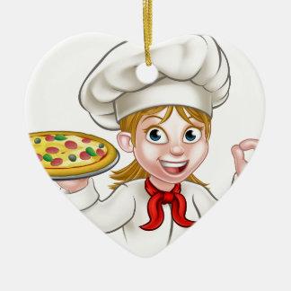 Ornamento De Cerâmica Mulher e pizza do cozinheiro chefe dos desenhos