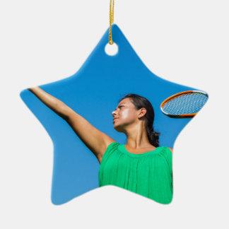Ornamento De Cerâmica Mulher holandesa nova com raquete e bola de tênis
