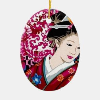 Ornamento De Cerâmica Mulher japonesa no quimono