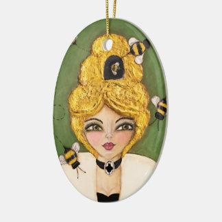 Ornamento De Cerâmica Mulher lunática da menina da colmeia da abelha do