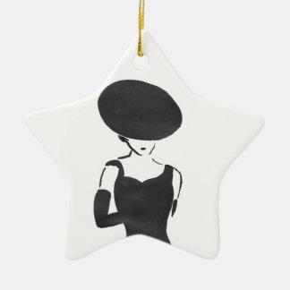 Ornamento De Cerâmica Mulher no preto