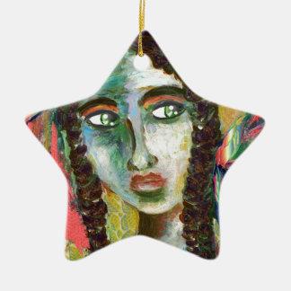 Ornamento De Cerâmica Mulher nova do nativo americano com penas