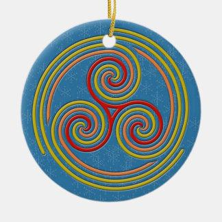 Ornamento De Cerâmica Multi espiral Pastel em azul-céu & em flocos de