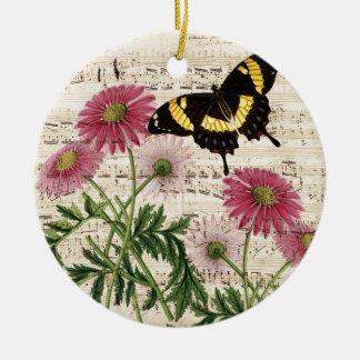 Ornamento De Cerâmica música da borboleta da margarida