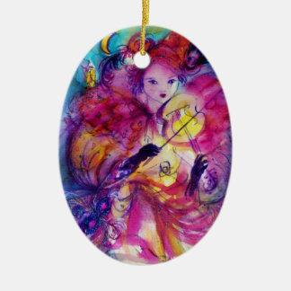 Ornamento De Cerâmica Músico do carnaval da NOITE do MASCARADA no traje