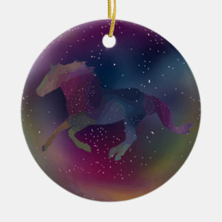 Ornamento De Cerâmica Mustang cósmico do arco-íris
