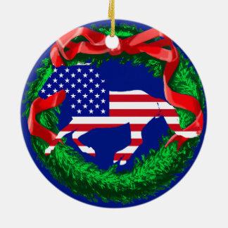 Ornamento De Cerâmica Mustang da bandeira dos Estados Unidos