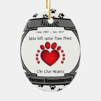 Ornamento De Cerâmica Na memória de seu cão ou gato recordado para
