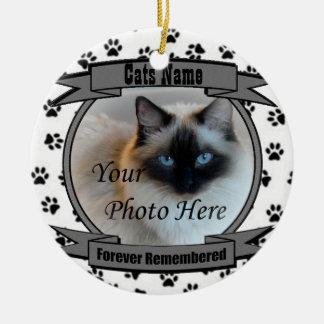 Ornamento De Cerâmica Na memória de seu gato recordado para sempre -