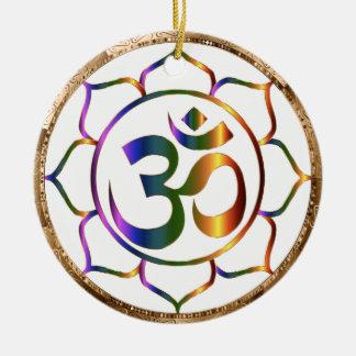 Ornamento De Cerâmica Namaste Aum (OM) & Lotus com beira do bronze do